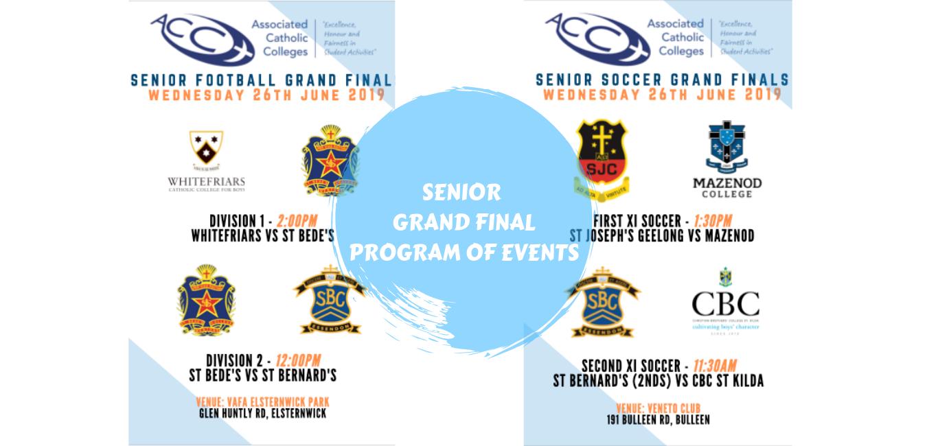 SENIOR GRAND FINALS - PROGRAM OF EVENTS