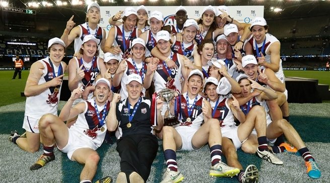 MELBOURNE, AUSTRALIA - SEPTEMBER 25: The Sandringham Dragons celebrate the premiership during the TAC CUP Grand Final match between the Murray Bushrangers and Sandringham Dragons at Etihad Stadium on September 25, 2016 in Melbourne, Australia.  (Photo by Adam Trafford/AFL Media)
