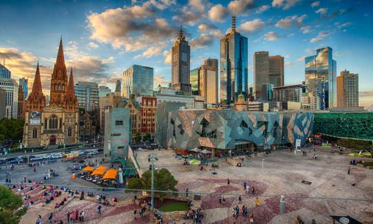 Looking over Fed Square at sunset